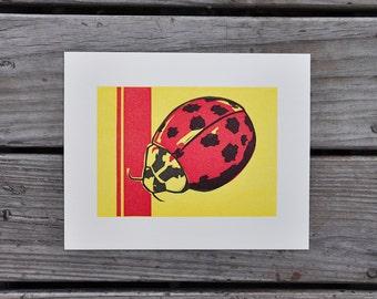 Ladybug Letterpress Linocut Print