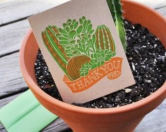 Cactus Thank You Letterpress Linocut Card