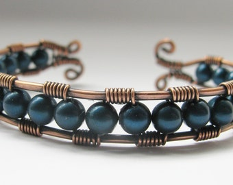 Copper Wire Wrapped Cuff Bracelet with Petrol Blue Swarovski Pearls
