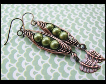 Peas in a Pod- Herringbone Wrapped Copper and Green Pearl Earrings- Help End Hunger