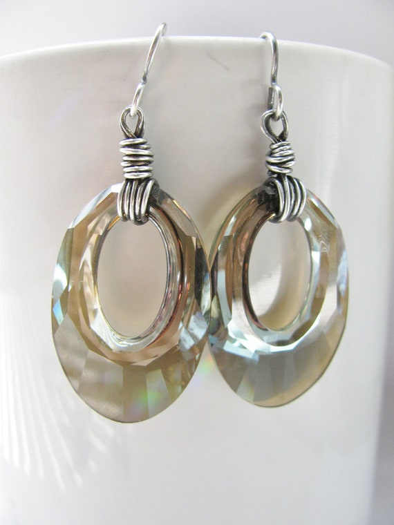 Large Swarovski Go-Go Bronze Crystal and Silver Earrings