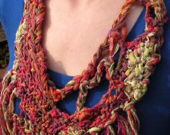 Crochet bib necklace fashion scarf, women's multicolor freeform knit fashion scarflette, wool cotton ribbon red green Bohemian boho i467