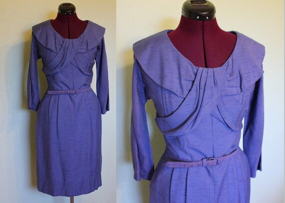 50s blue wiggle dress with unique collar M