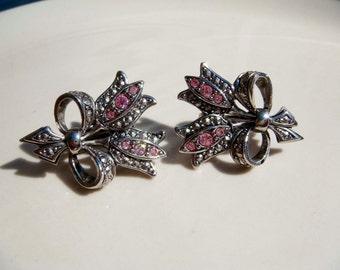 Vintage Avon Earrings Rose Pink rhinestone Clip On