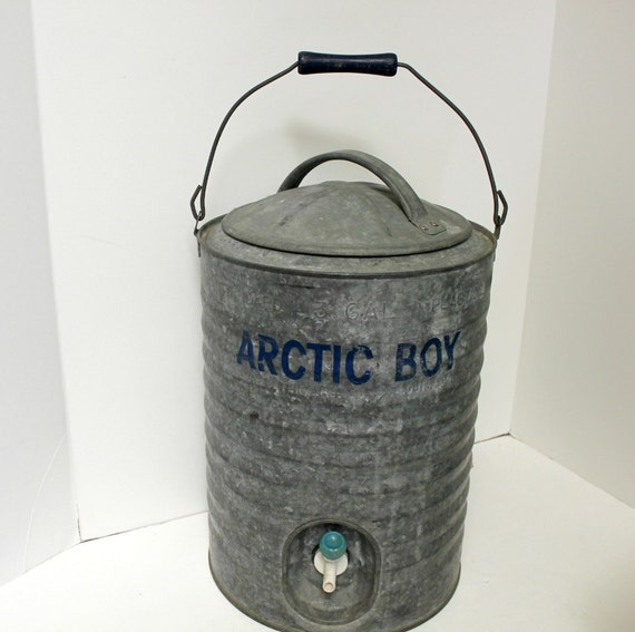 Vintage Arctic Boy 3 Gal Cooler Galvanized Metal By