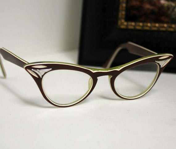 Vintage Cats Cat Eye Eyeglasses American Optical Chocolate Brown Lime Green