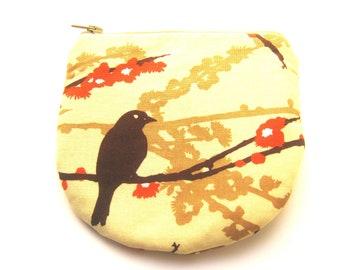 Bird on a Branch Handmade Zipper Coin Purse  Padded Horseshoe Shaped