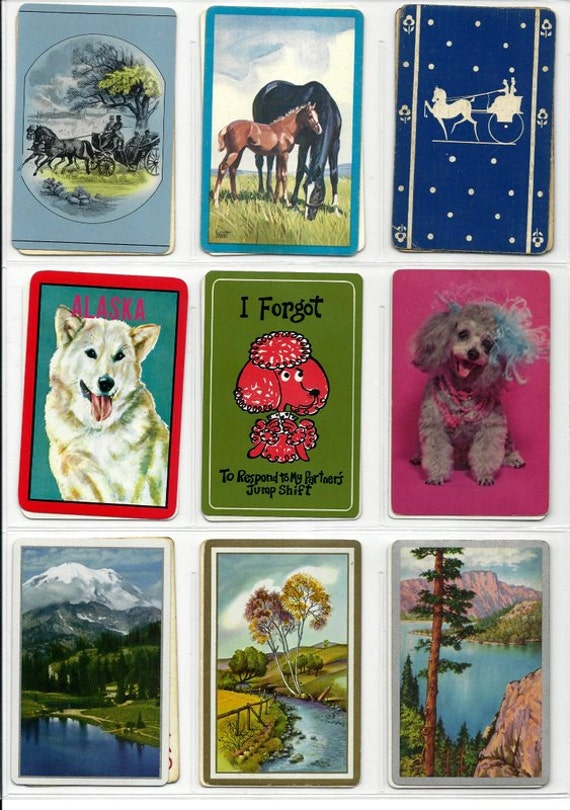 Swap playing cards. Pictures of horses, dogs and lanscapes.