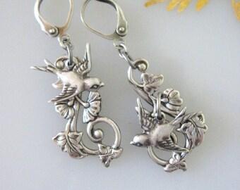 Swallow Earrings, Leaf Jewelry, Leaf Earrings, Dangle Earrings, Twig Earrings, Silver Earrings, Sparrow Earrings, Swallow Jewelry