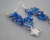 Beaded Dangle Earrings - Celestial (blue, star charms) by randomcreative on Etsy