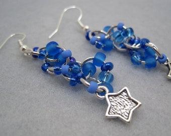 Beaded Dangle Earrings - Celestial (blue, star charms) by randomcreative on Etsy
