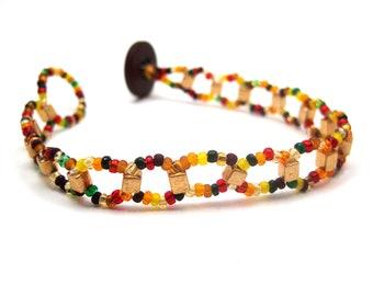 Beaded Bracelet - Fall Autumn Gold by randomcreative on Etsy