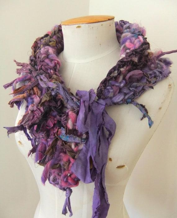 Handspun Hand Crocheted  Thick Chunky Little Scarf  Collar