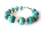 Green Turquoise Bracelet - Oxidized Sterling Silver - One of Kind Tagt Team - Free Shipping