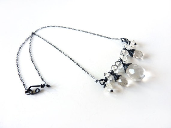 Quartz Crystal Necklace - Oxidized Sterling  Silver Macrame - Tagt