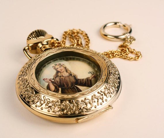 Catholic Saint Gold Locket Wall Hanging