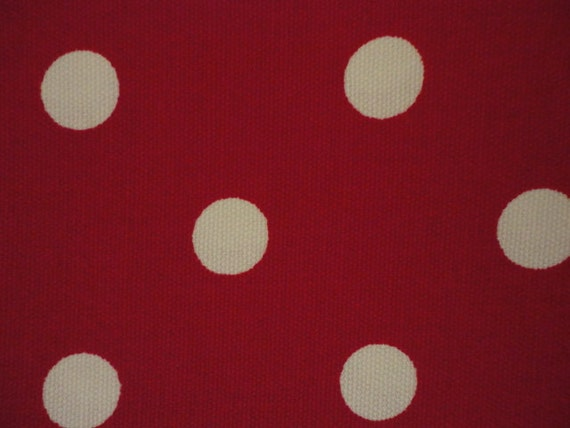 RESERVED, RESERVED, Cotton Upholstery Fabric, Red and While Polka Dot, 2 Yards