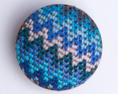 Tribal Brooch (Blue, turquoise, aquamarine, chevron)