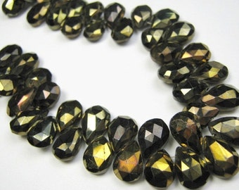 Faceted  Bronze Pyrite Faceted Pear Briolettes. Large 11mm.  Packet of 2  (LPB). SALE. Reduced from 6.30