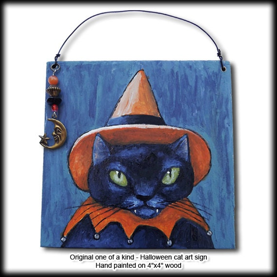 Halloween Cat Art Original Painting on 4 Inch Wood Square with Moon Charm
