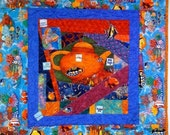 Have a Cup of Tea -- There Are Plenty More Fish in the Sea, 23 x23 inch art quilt
