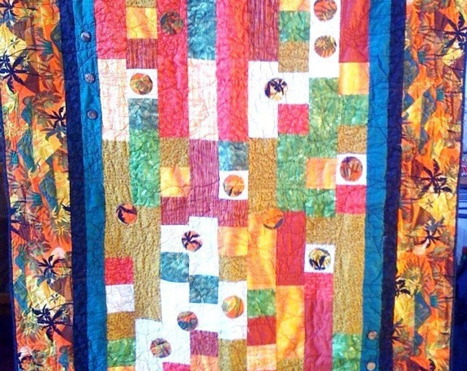 Fall in Love With Island Life, 46 x 64 quilted wallhanging, 2009