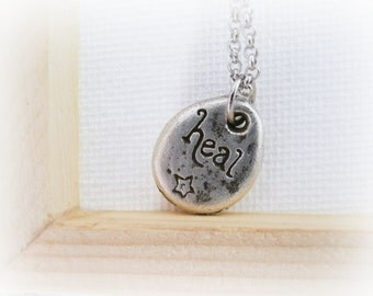 Silver drop pendant flower and quote - heal sterling silver necklace - recovery healing necklace - Heal Quote Sterling Silver Necklace