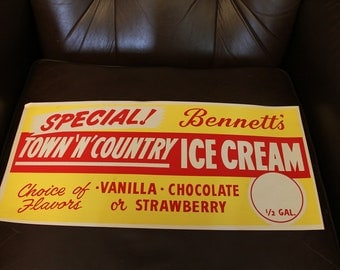 VINTAGE NOS Bennet's Town N Country Ice Cream  Paper Advertising