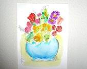 Art Original Painting of Flowers in Blue Vase