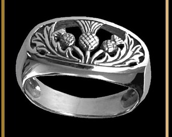 Oval Three Thistle Sterling Silver Ring