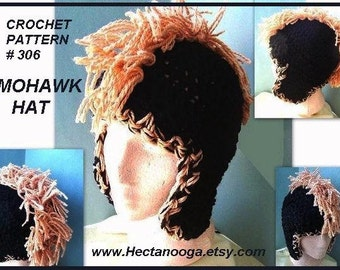 306, MOHAWK HAT, newborn to adult sizes. Crochet PATTERN.... permission to sell your finished hats