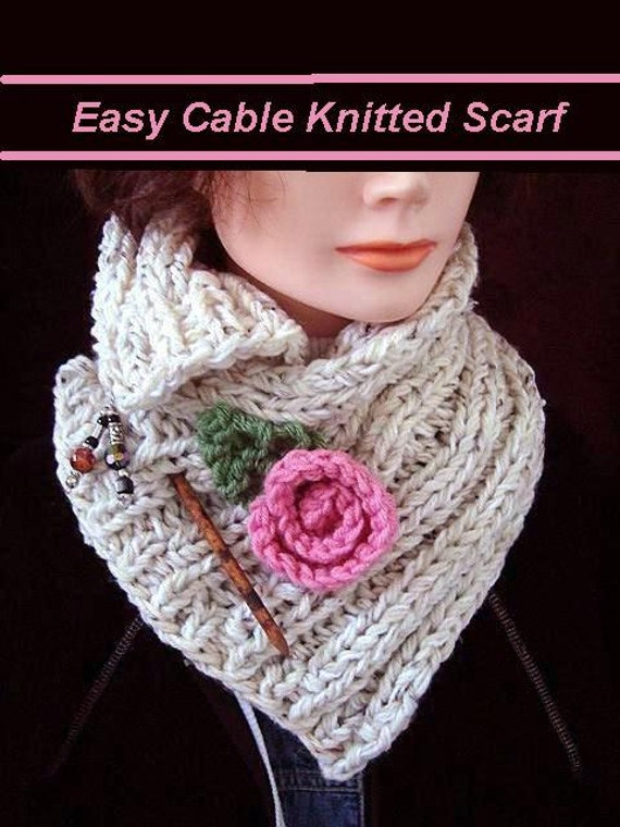 KNITTING PATTERN scarf knitted ribbed cowl knit flower and