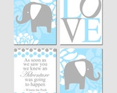 Baby Elephant Love Quad - Set of Four 8x10 Prints - Winnie The Pooh Adventure Quote - Choose Your Colors - Shown in Baby Blue and Gray