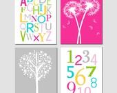 Kids Wall Art - Girl Nursery Decor - Set of Four 8x10 Prints - Alphabet, Numbers, Tree Dot, Dandelions - CHOOSE YOUR COLORS