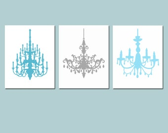 Chandelier Art Trio - Set of Three Coordinating 8x10 Chandelier Prints - Choose Your Colors - Shown in Blue Gray Medley
