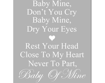 Baby Mine - 11x14 Nursery Art Print -  Dumbo Song Lyrics - CHOOSE YOUR COLORS - Shown in Yellow, Gray, Pink, Aqua, and More