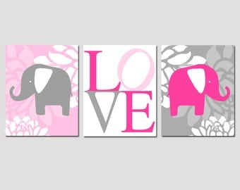 Floral Elephant Love Trio - Set of Three 8x10 Modern Nursery Art Prints - Choose Your Colors - Shown in Hot Pink, Gray, Light Pink, White
