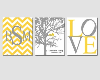 Family Love - Chevron Monogram, Family Established Birds Tree, Love - GREAT WEDDING GIFT - Choose Your Colors - Set of Three 8x10 Prints