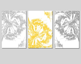 Abstract Dandelion Floral Flower Trio - Set of Three 11x17 Coordinating Prints - Choose Your Colors - Shown in Yellow, Gray, and More