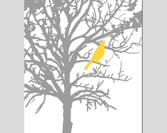 Bird in a Tree - 13x19 Large Scale Print - Modern Nursery, Bathroom, Kitchen - CHOOSE YOUR COLORS - Shown in Yellow and Gray