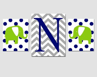 Nursery Art Trio - Set of Three Prints - 8x10 and 11x14 - Chevron Monogram Initial, Polka Dot Elephants - Choose Your Colors and Letter