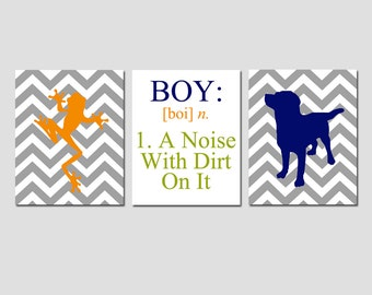Kids Wall Art - Boy - A Noise With Dirt On It - Set of Three 8x10 Prints - Chevron Frog and Puppy Dog - CHOOSE YOUR COLORS