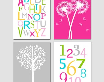 Kids Wall Art - Girl Nursery Decor - Set of Four 8x10 Prints - Alphabet, Numbers, Tree Dot, Dandelions - CHOOSE YOUR COLORS