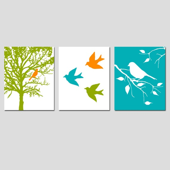 Modern Bird Trio - Set of Three 8x10 Prints - Nursery Wall Art - Bird in Tree - Choose Your Colors - Shown in Orange, Gray, Teal, and More