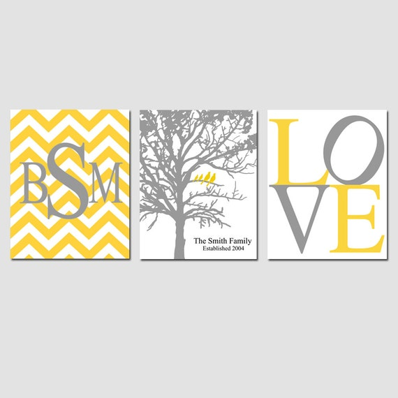 Family Love - Chevron Monogram, Family Established Birds Tree, Love - GREAT WEDDING GIFT - Choose Your Colors - Set of Three 8x10 Prints