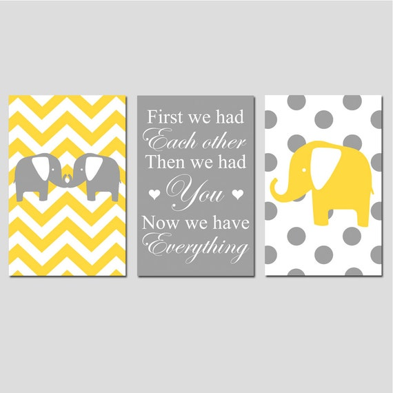 Chevron Elephant Polka Dot Nursery Art Trio - Set of Three 13x19 Prints - First We Had Each Other, Then We Had You, Now We Have Everything