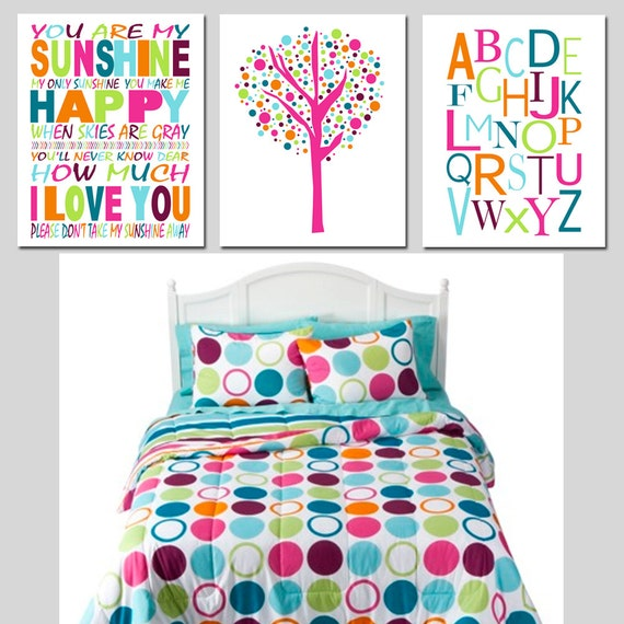 Xhilaration Wall Decor : Sunshine alphabet trio set of three prints kids by