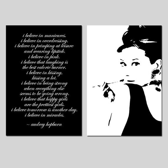Items similar to Audrey Hepburn - I believe in manicures ...  |Audrey Hepburn Quotes I Believe In Manicures