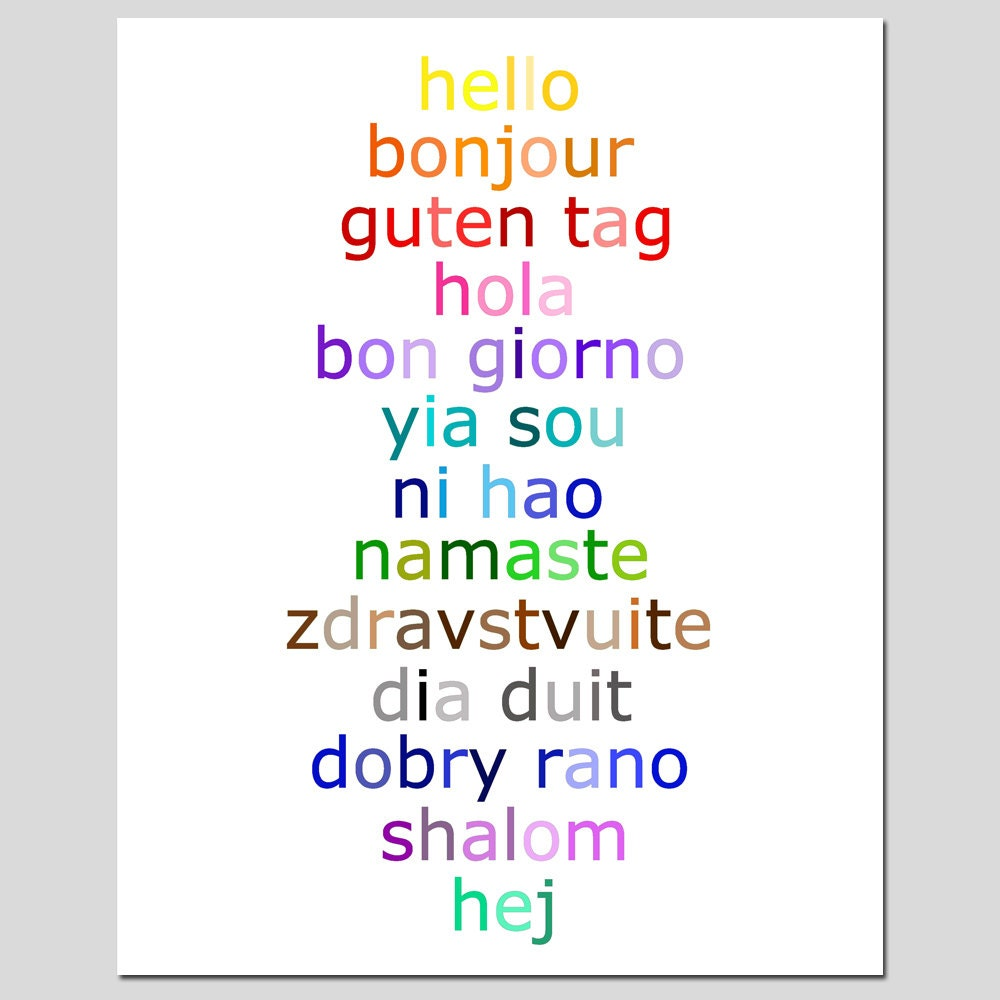 How Do You Say Good Morning In French Creole : Hello typography print with in different