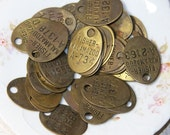 Salvaged Brass Tag (1) with numbers and Letters for Jewelry and Found Object Art